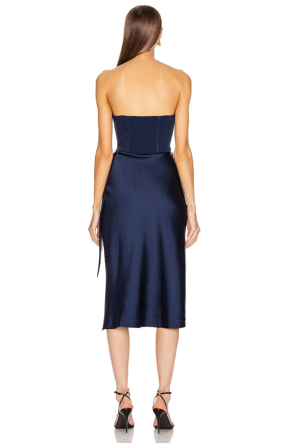 Image 5 of JONATHAN SIMKHAI Crepe Satin Combo Dress in Midnight
