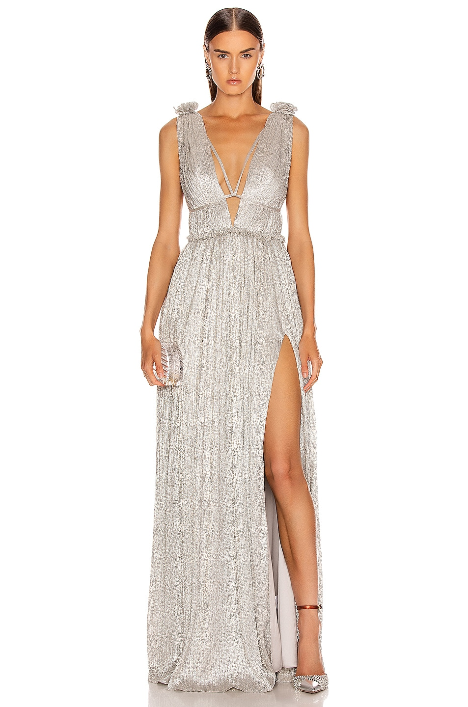 Image 1 of JONATHAN SIMKHAI Plisse Lame Maxi Dress in Cool Silver