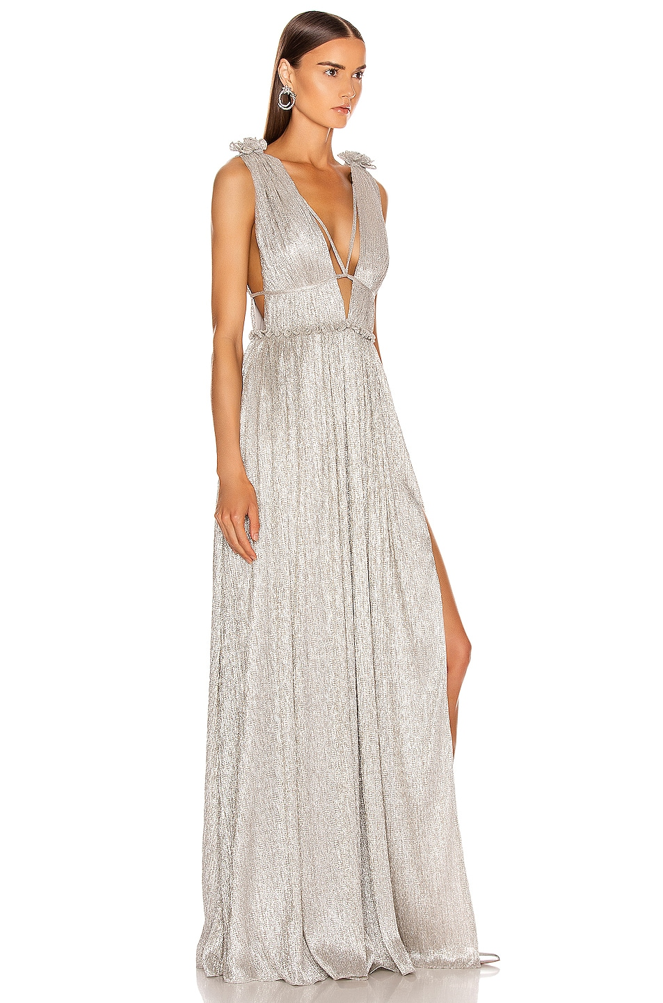 Image 2 of JONATHAN SIMKHAI Plisse Lame Maxi Dress in Cool Silver