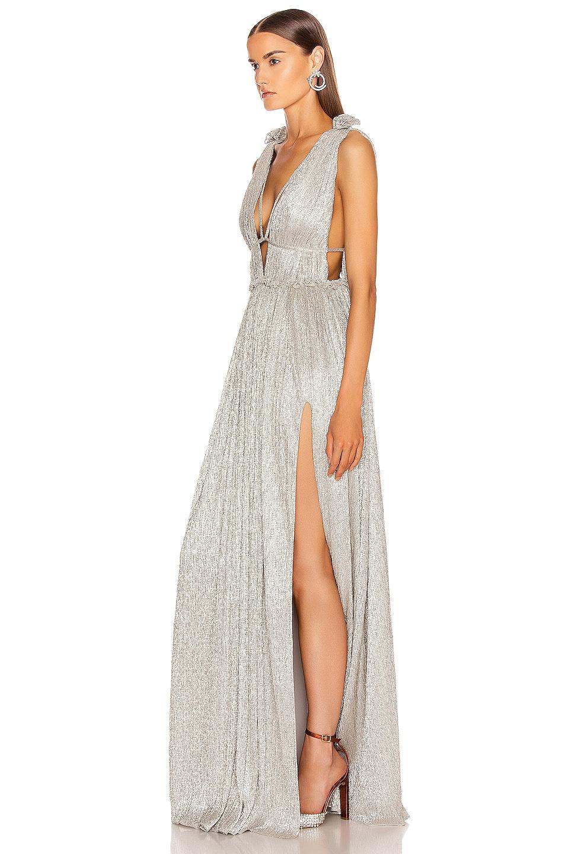 Image 3 of JONATHAN SIMKHAI Plisse Lame Maxi Dress in Cool Silver