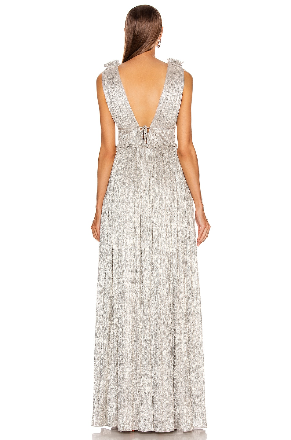 Image 4 of JONATHAN SIMKHAI Plisse Lame Maxi Dress in Cool Silver