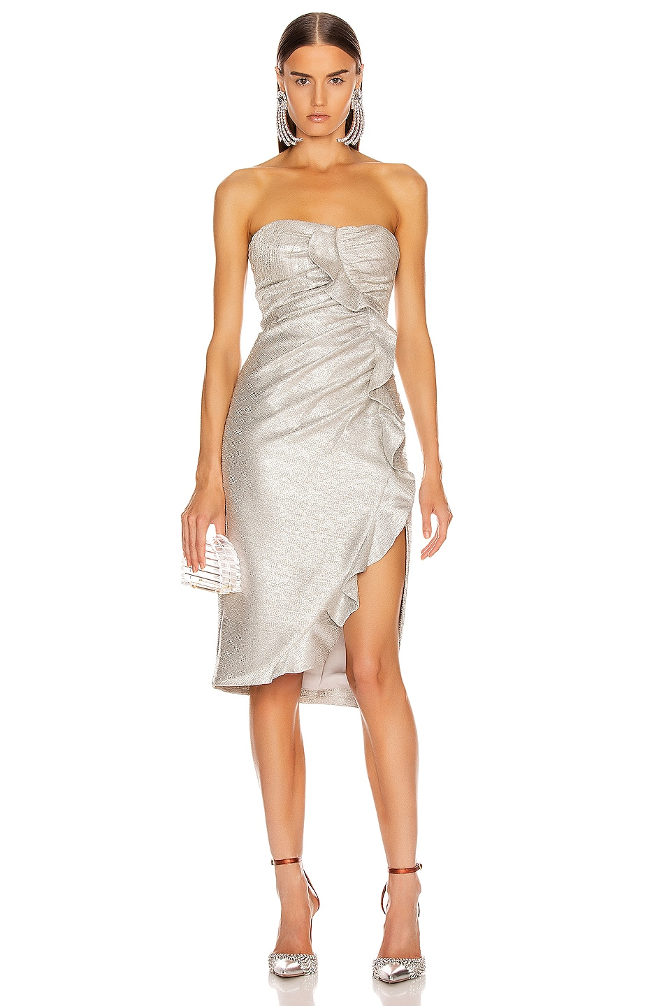 Image 1 of JONATHAN SIMKHAI Plisse Lame Ruffle Dress in Cool Silver