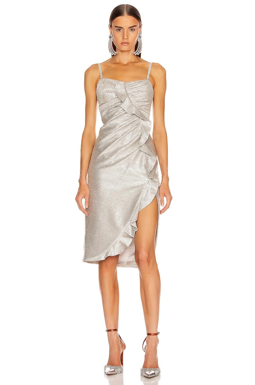 Image 2 of JONATHAN SIMKHAI Plisse Lame Ruffle Dress in Cool Silver