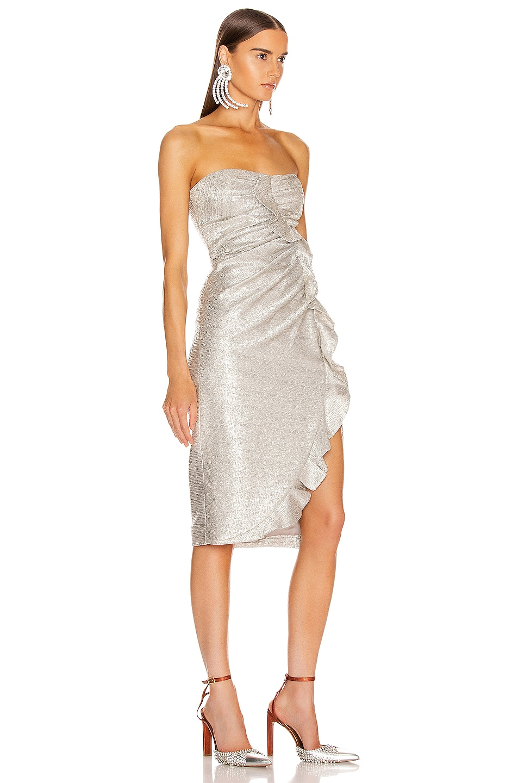Image 3 of JONATHAN SIMKHAI Plisse Lame Ruffle Dress in Cool Silver
