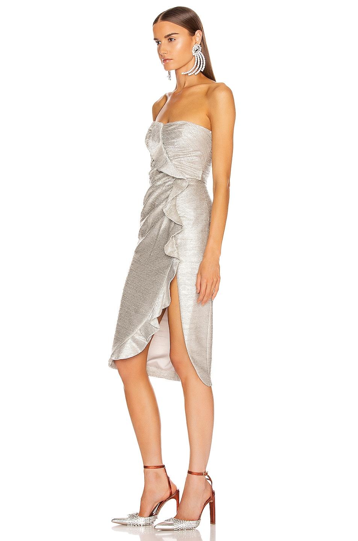 Image 4 of JONATHAN SIMKHAI Plisse Lame Ruffle Dress in Cool Silver