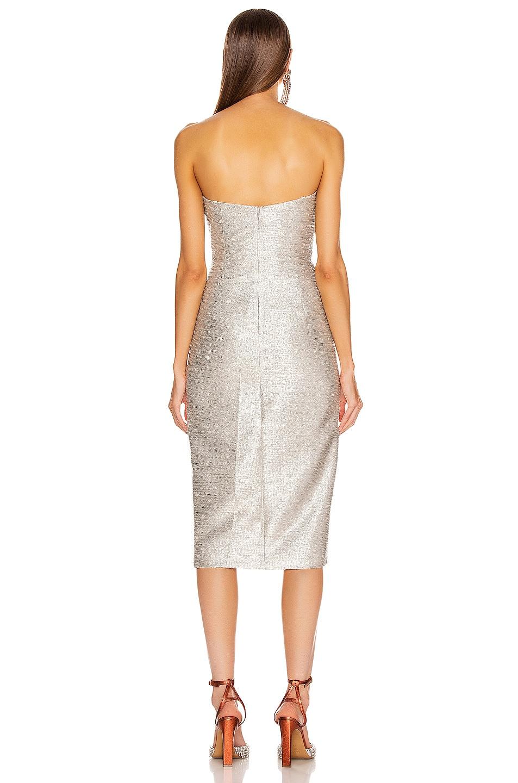 Image 5 of JONATHAN SIMKHAI Plisse Lame Ruffle Dress in Cool Silver