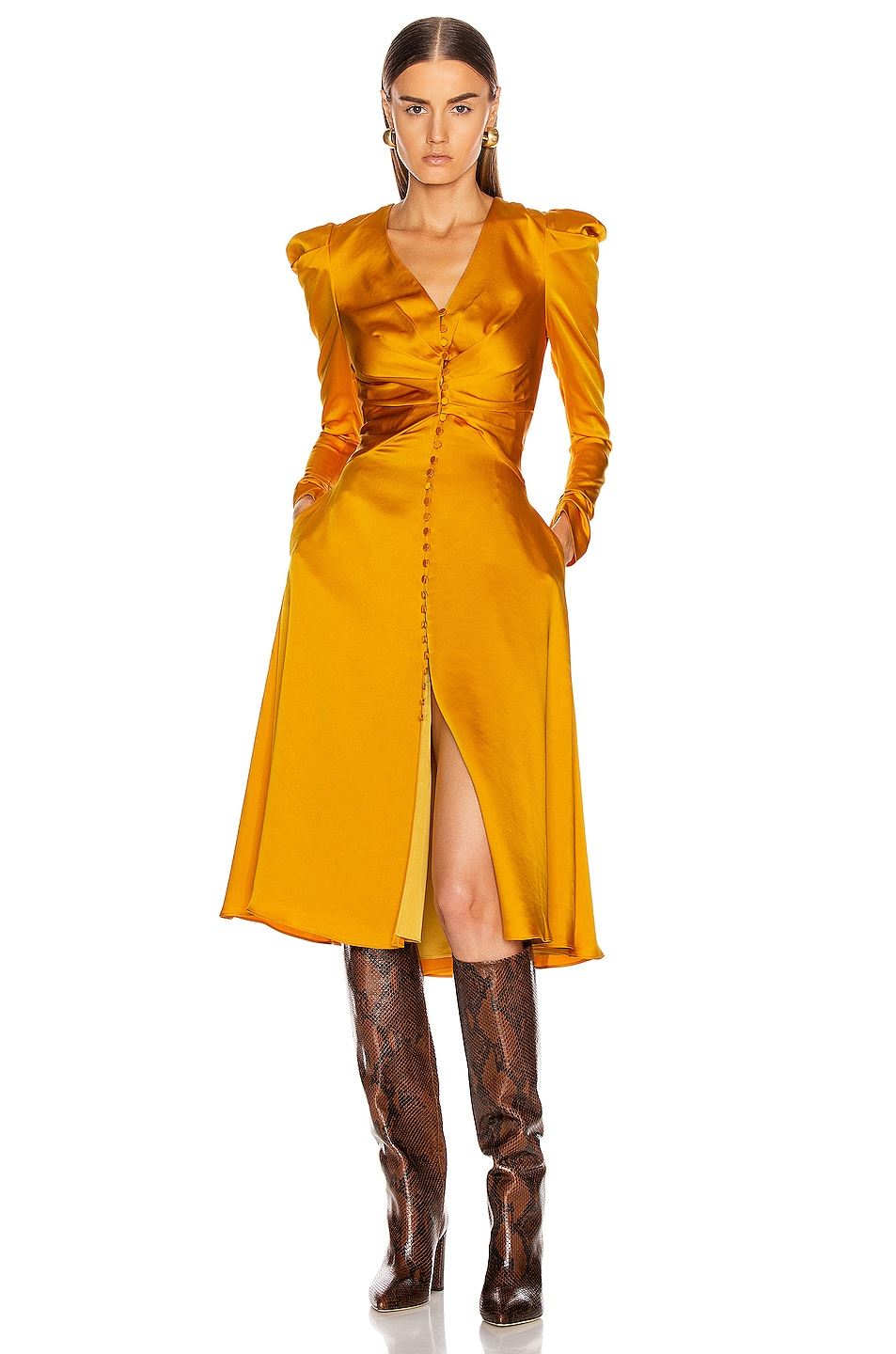 Image 1 of JONATHAN SIMKHAI Ruched Front Sateen Dress in Turmeric