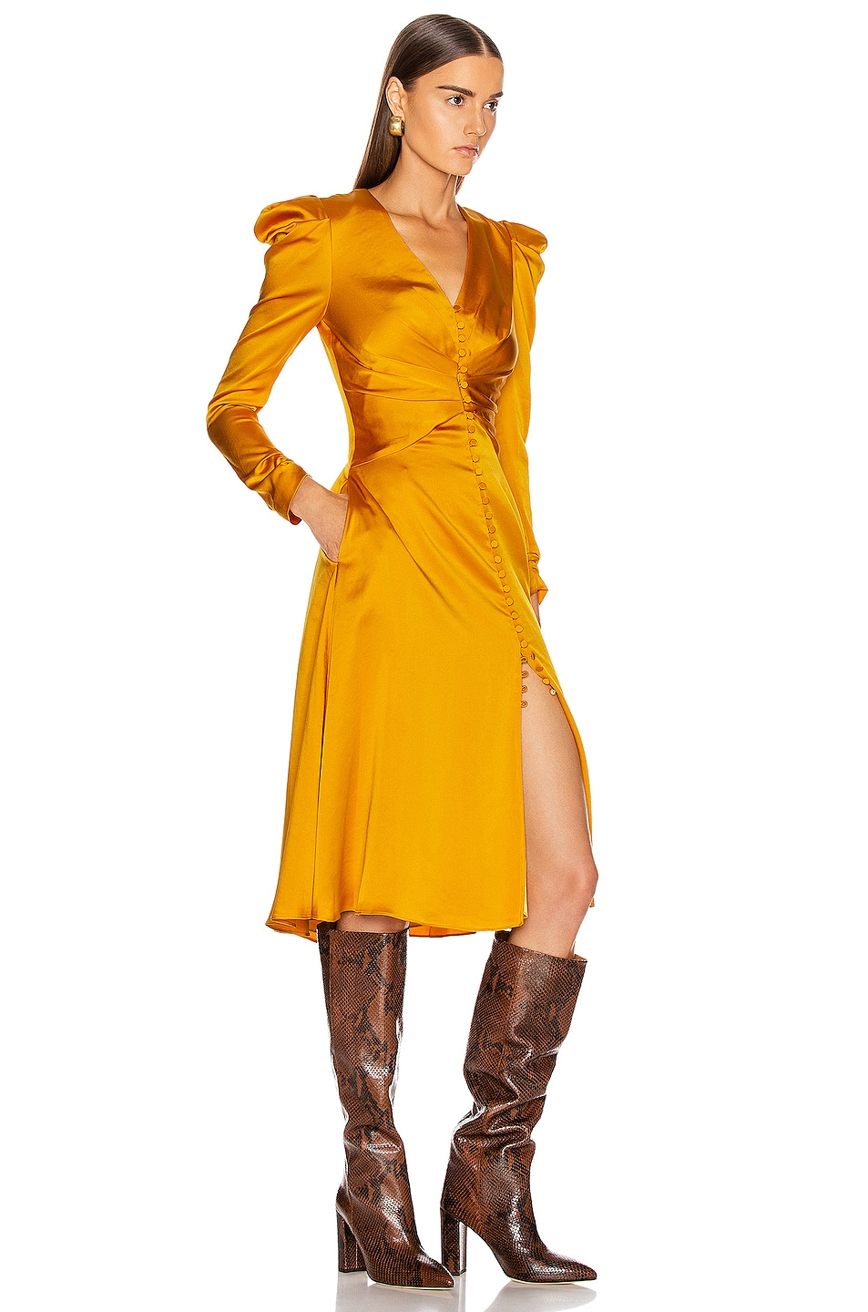 Image 2 of JONATHAN SIMKHAI Ruched Front Sateen Dress in Turmeric