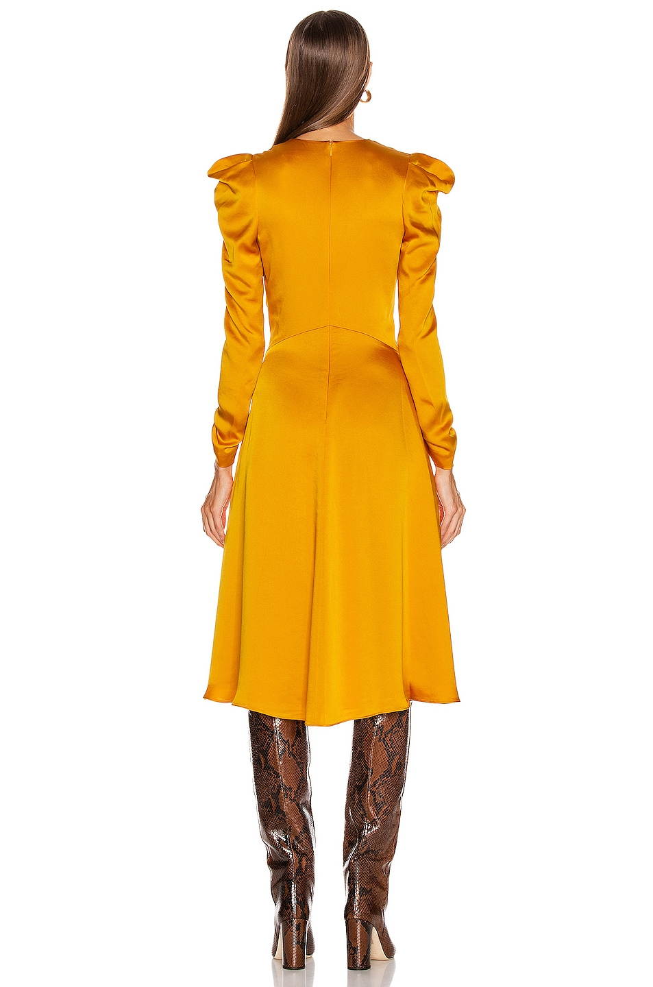 Image 3 of JONATHAN SIMKHAI Ruched Front Sateen Dress in Turmeric