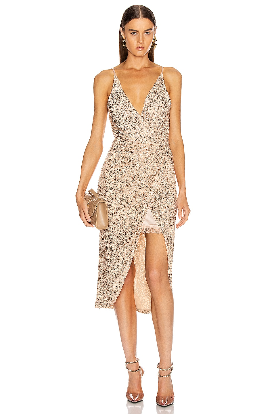 Image 1 of JONATHAN SIMKHAI Speckled Sequin Wrap Dress in Gold