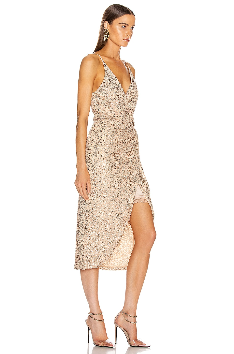Image 2 of JONATHAN SIMKHAI Speckled Sequin Wrap Dress in Gold