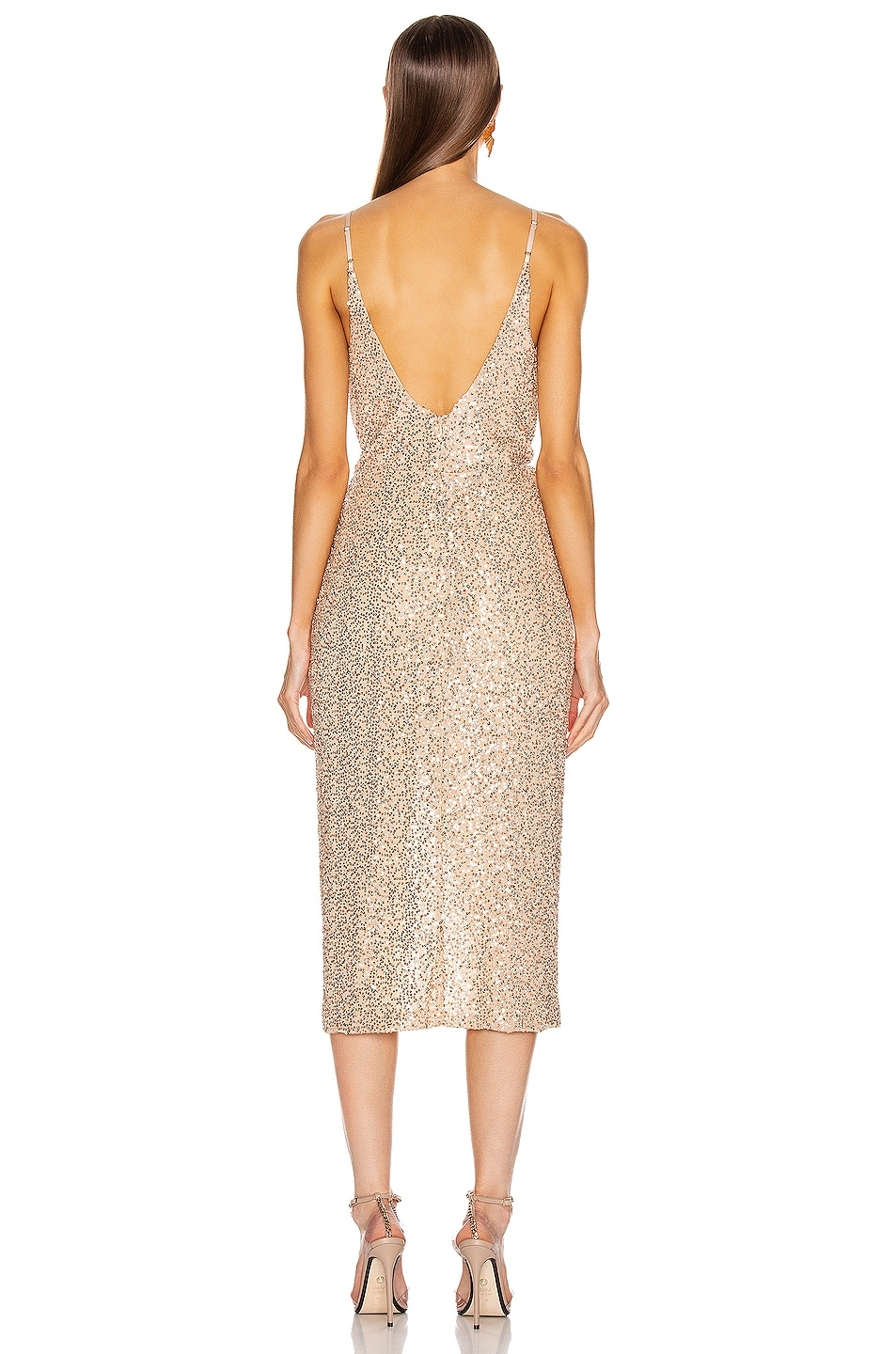 Image 4 of JONATHAN SIMKHAI Speckled Sequin Wrap Dress in Gold