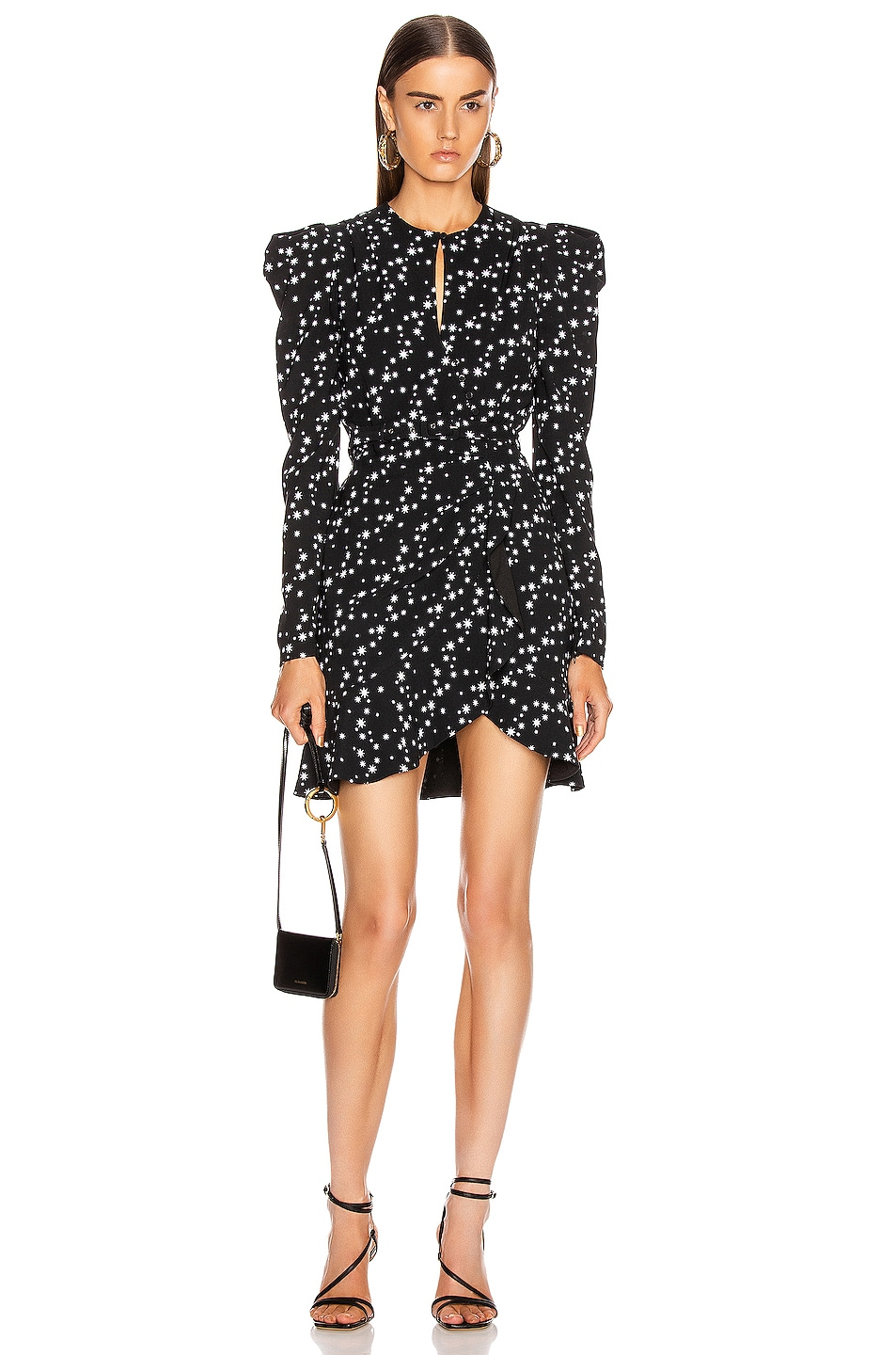 Image 1 of JONATHAN SIMKHAI Star Print Wrap Dress in Black Print