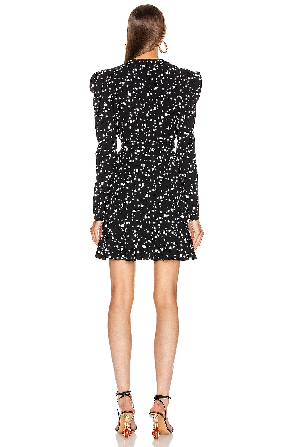 Image 3 of JONATHAN SIMKHAI Star Print Wrap Dress in Black Print