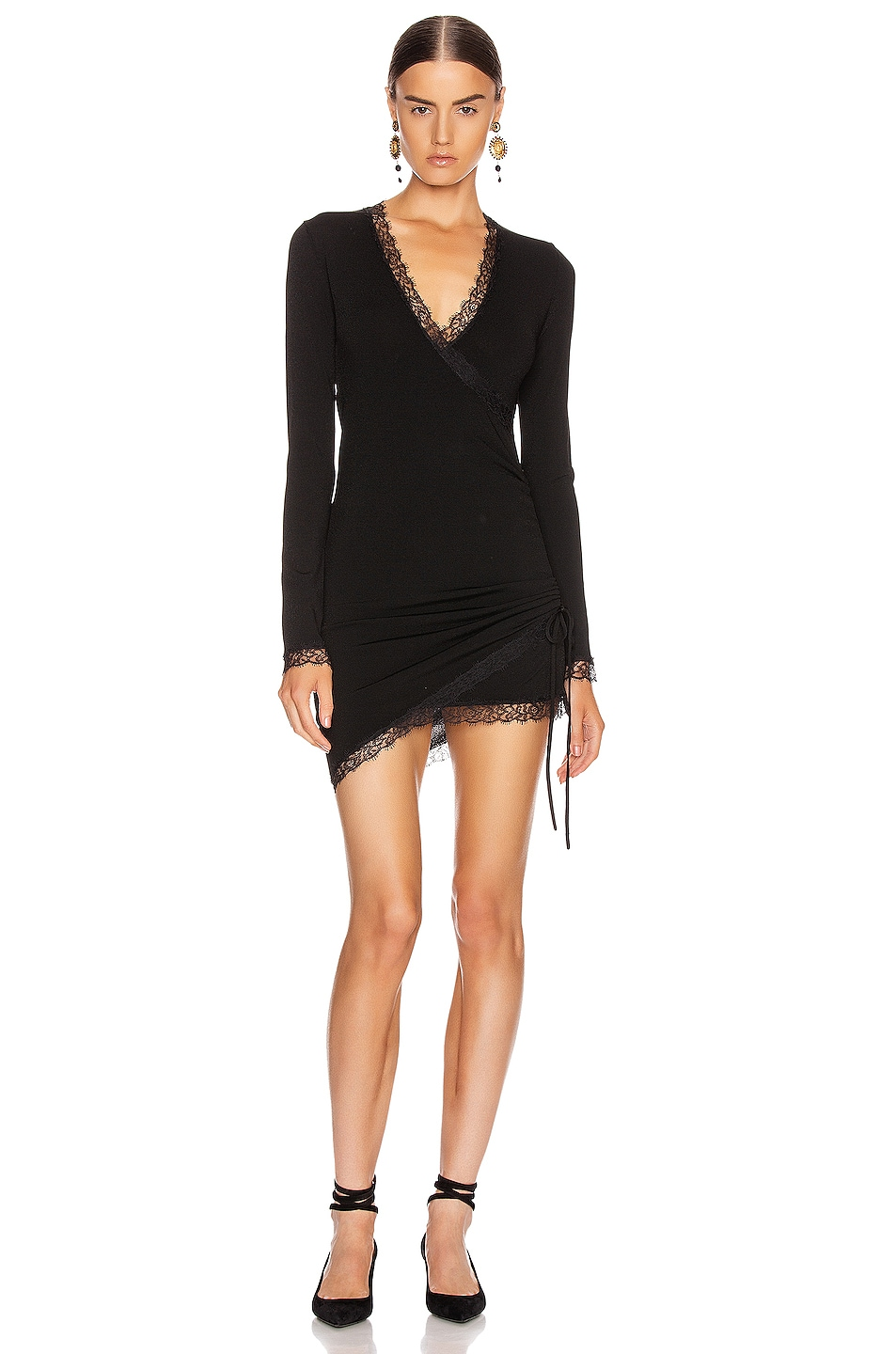 Image 1 of JONATHAN SIMKHAI Cross Front Long Sleeve Mini Dress in Black