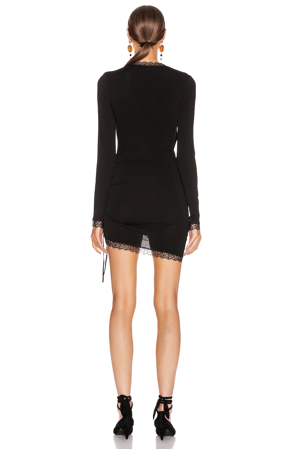 Image 4 of JONATHAN SIMKHAI Cross Front Long Sleeve Mini Dress in Black