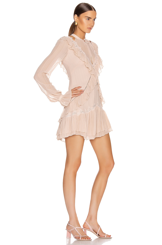 Image 2 of JONATHAN SIMKHAI Stripe Georgette Ruffle Dress in Pink Sand