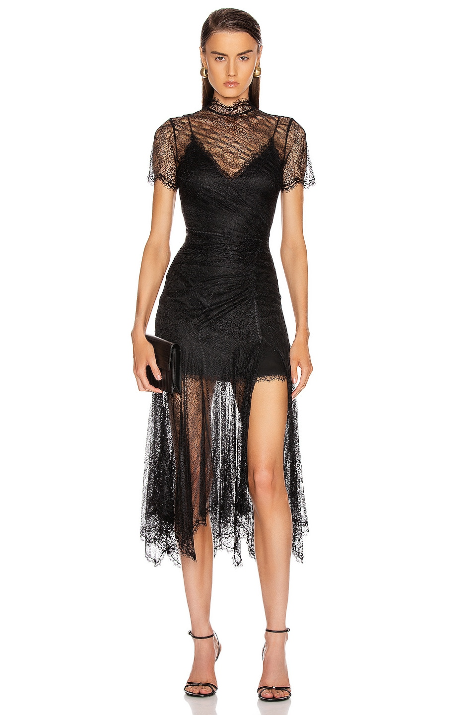 Image 1 of JONATHAN SIMKHAI Sateen Lingerie Lace Dress in Black