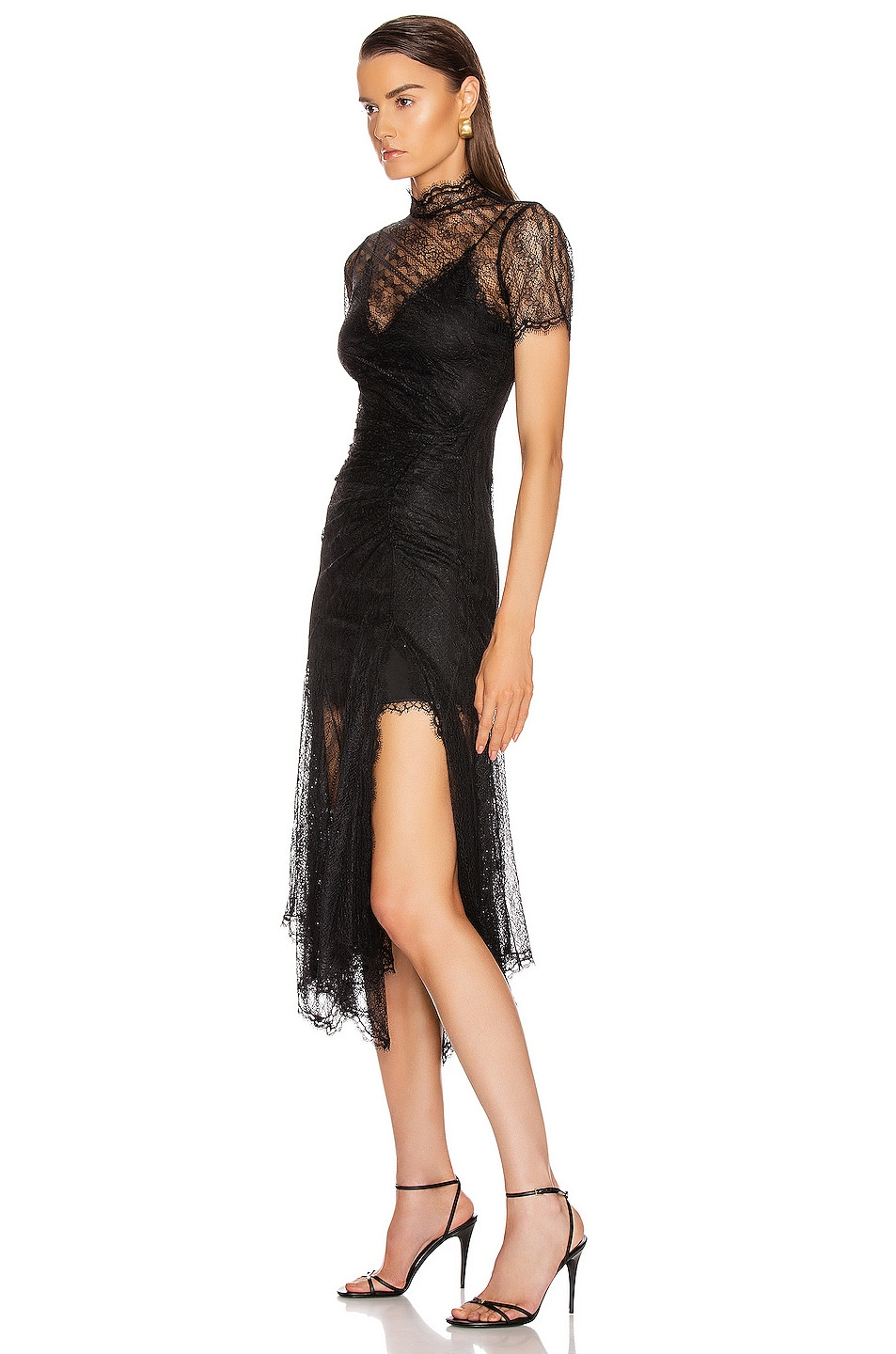 Image 3 of JONATHAN SIMKHAI Sateen Lingerie Lace Dress in Black
