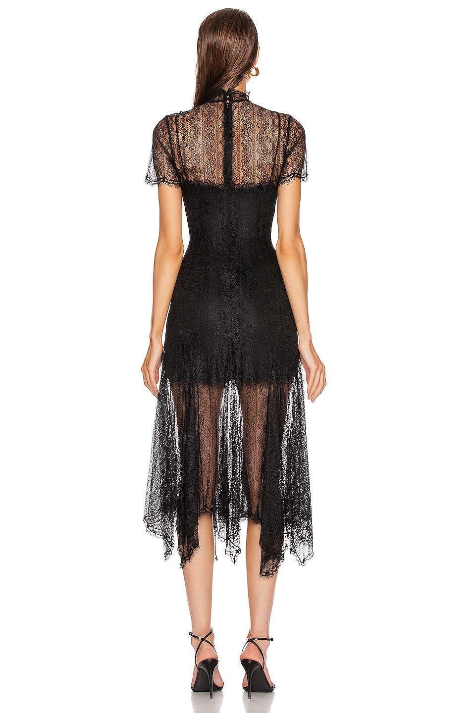 Image 4 of JONATHAN SIMKHAI Sateen Lingerie Lace Dress in Black