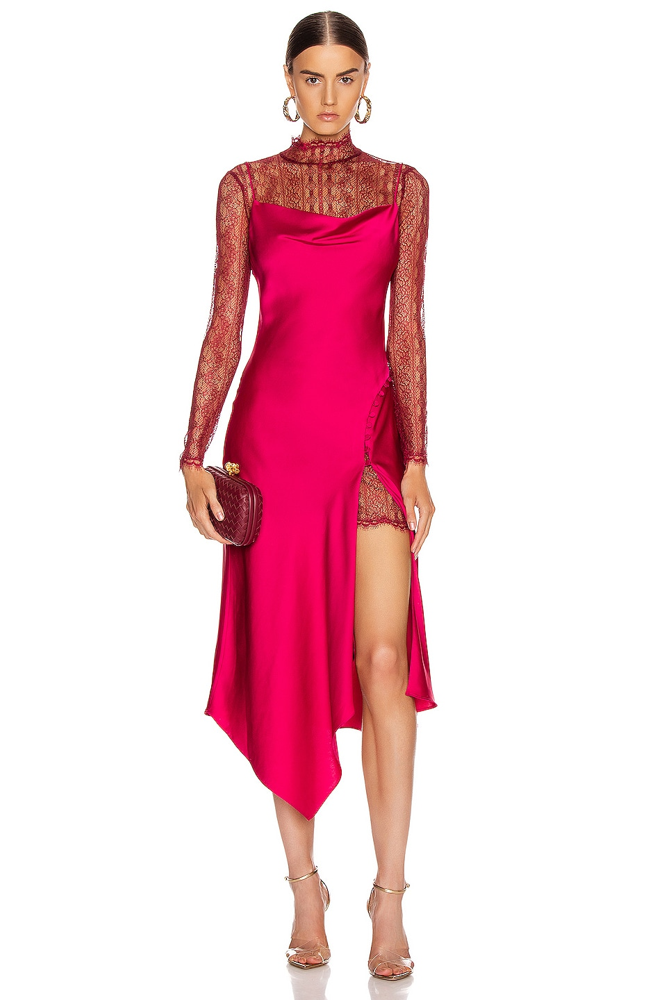 Image 1 of JONATHAN SIMKHAI Lace Overlay Dress in Siren Red