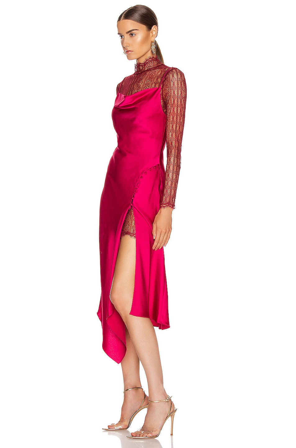 Image 3 of JONATHAN SIMKHAI Lace Overlay Dress in Siren Red