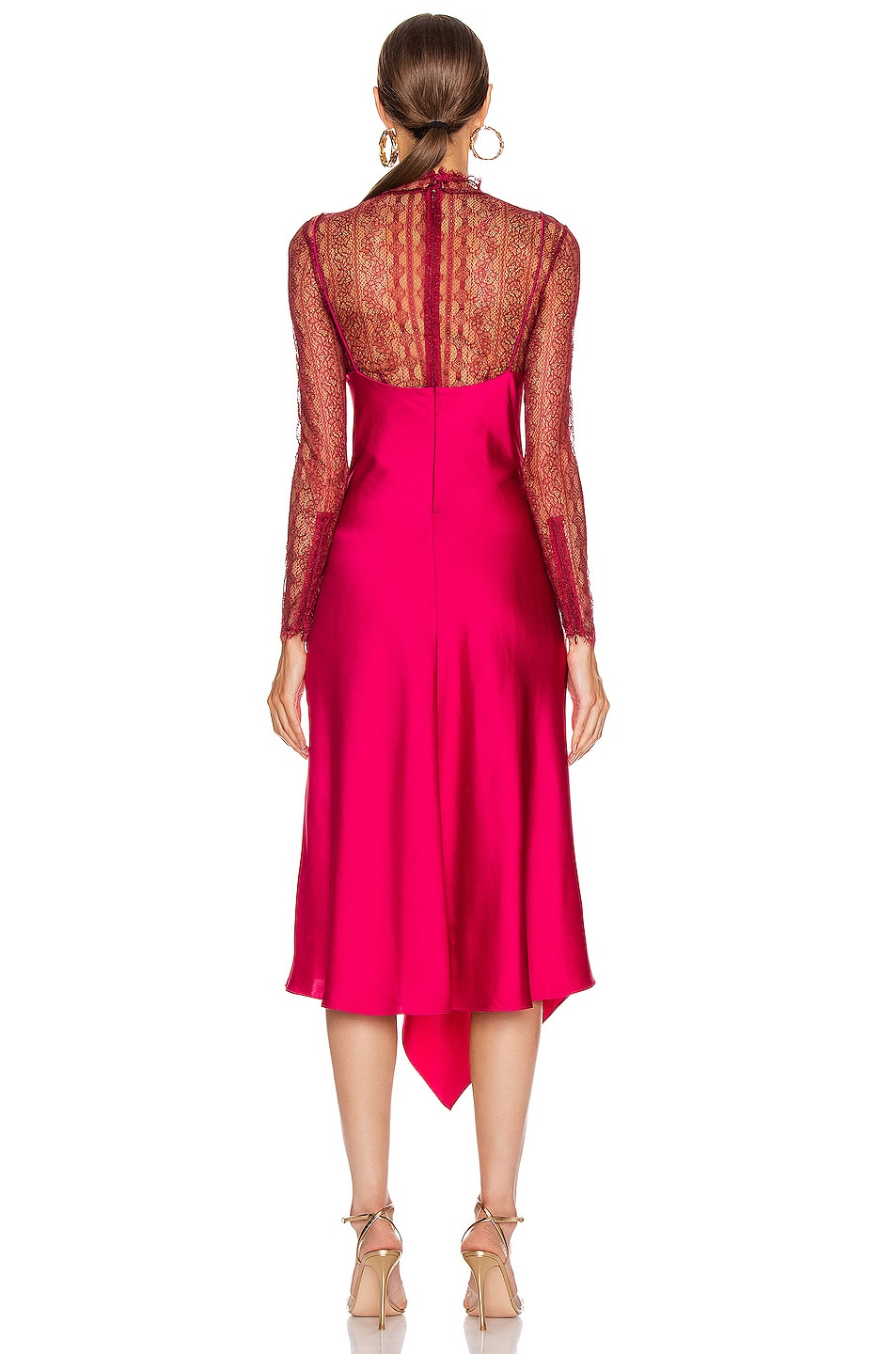 Image 4 of JONATHAN SIMKHAI Lace Overlay Dress in Siren Red