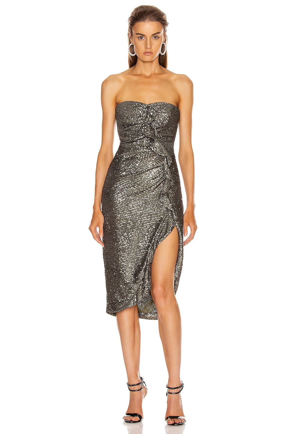 Image 1 of JONATHAN SIMKHAI Sequin Strapless Bustier Dress in Black