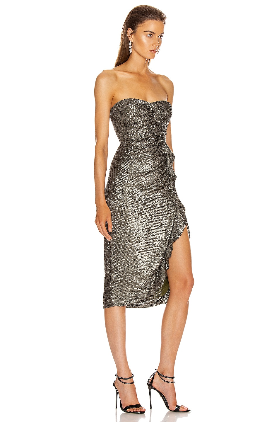 Image 2 of JONATHAN SIMKHAI Sequin Strapless Bustier Dress in Black