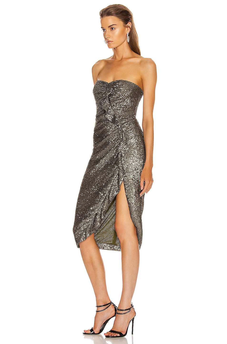 Image 3 of JONATHAN SIMKHAI Sequin Strapless Bustier Dress in Black
