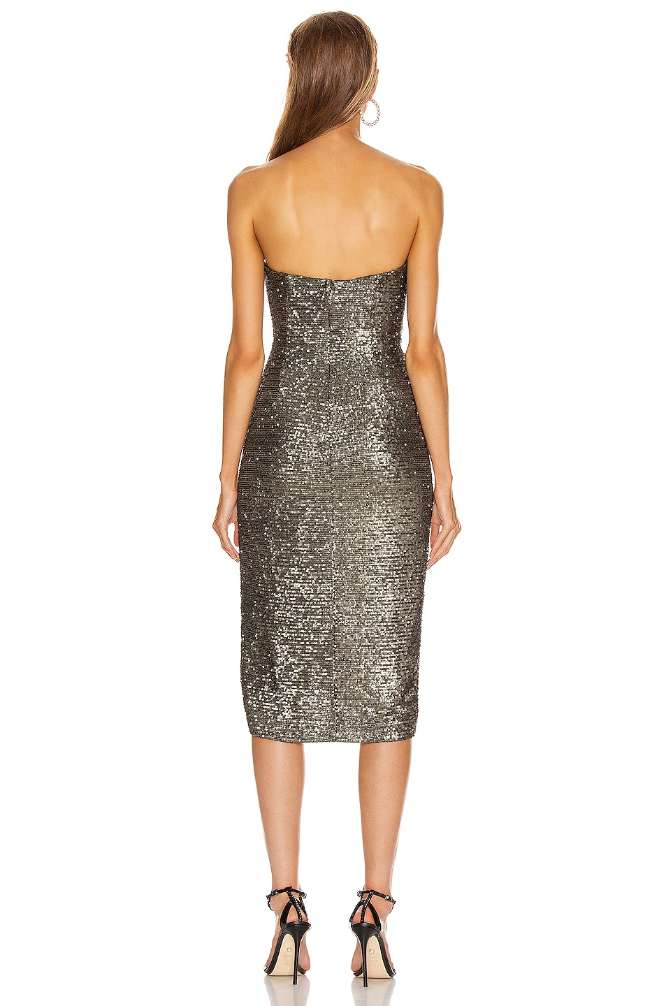 Image 4 of JONATHAN SIMKHAI Sequin Strapless Bustier Dress in Black