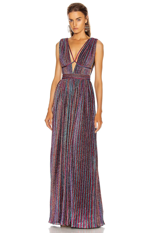 Image 1 of JONATHAN SIMKHAI Open Neck Maxi Dress in Rainbow