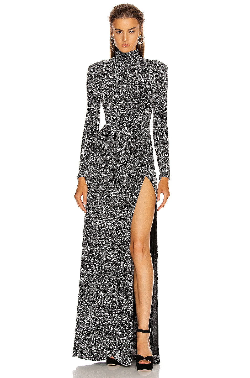 Image 1 of JONATHAN SIMKHAI Glitter Jersey Draped Front Gown in Black
