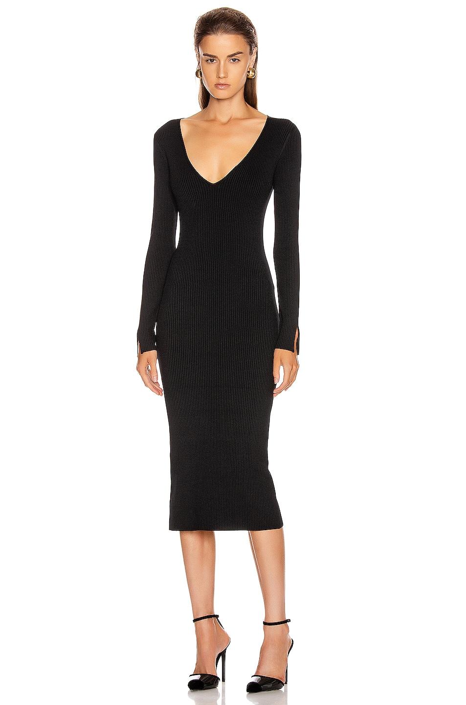 Image 1 of JONATHAN SIMKHAI Deep Rib Open Neck Dress in Black