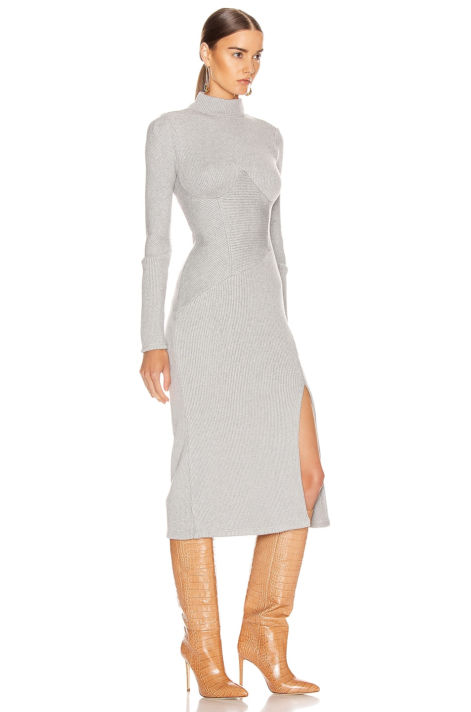 Image 2 of JONATHAN SIMKHAI Directional Rib Turtleneck Slit Dress in Heather Grey