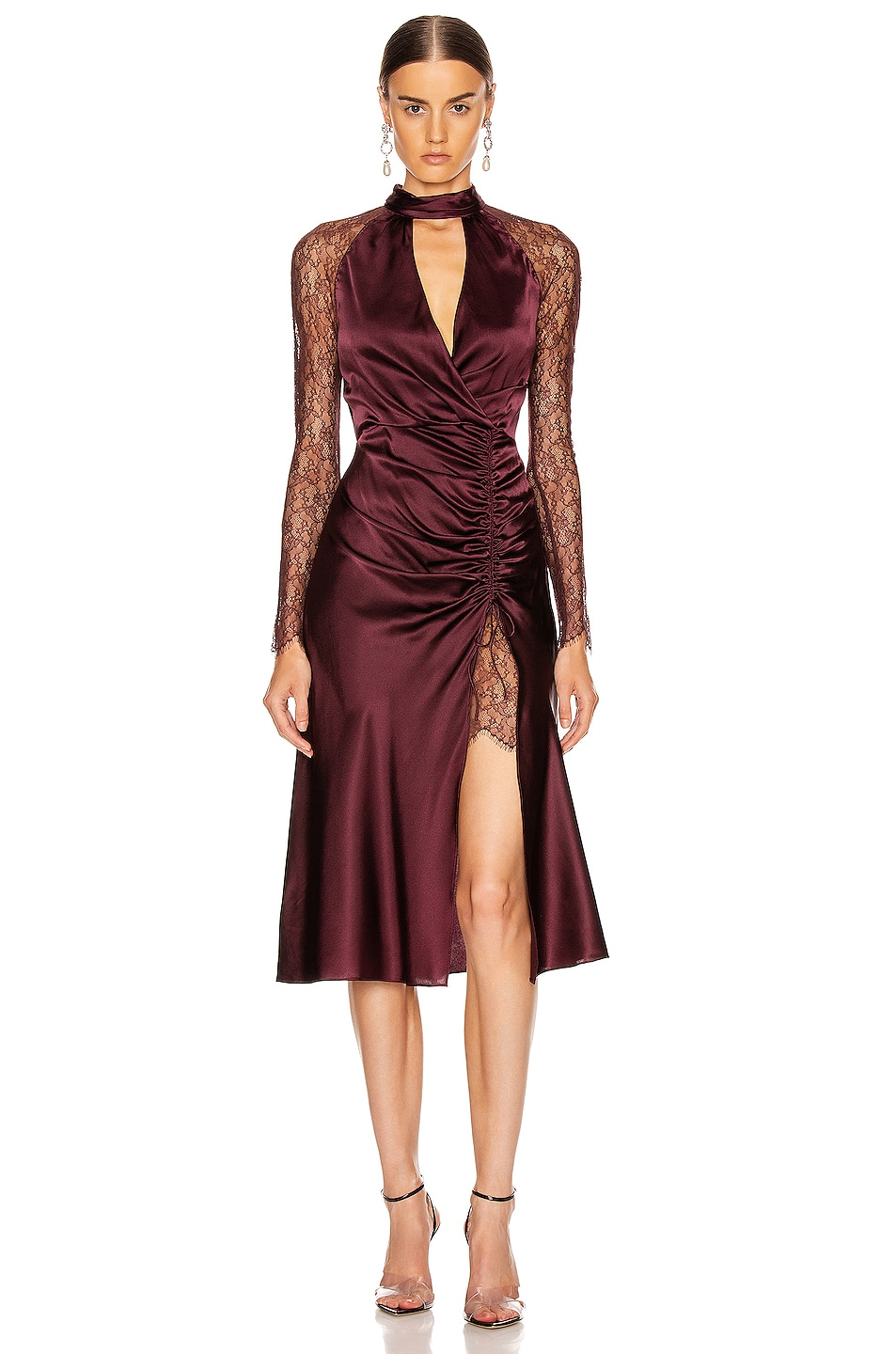 Image 1 of JONATHAN SIMKHAI Lace Ruched Front Keyhole Dress in Sienna & Antique Rose