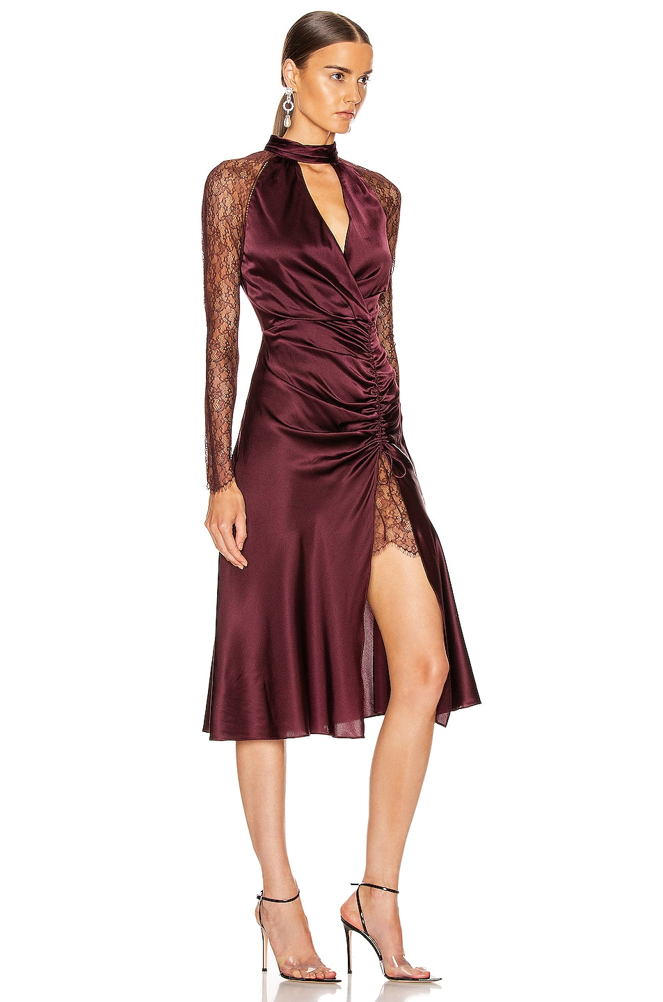 Image 2 of JONATHAN SIMKHAI Lace Ruched Front Keyhole Dress in Sienna & Antique Rose