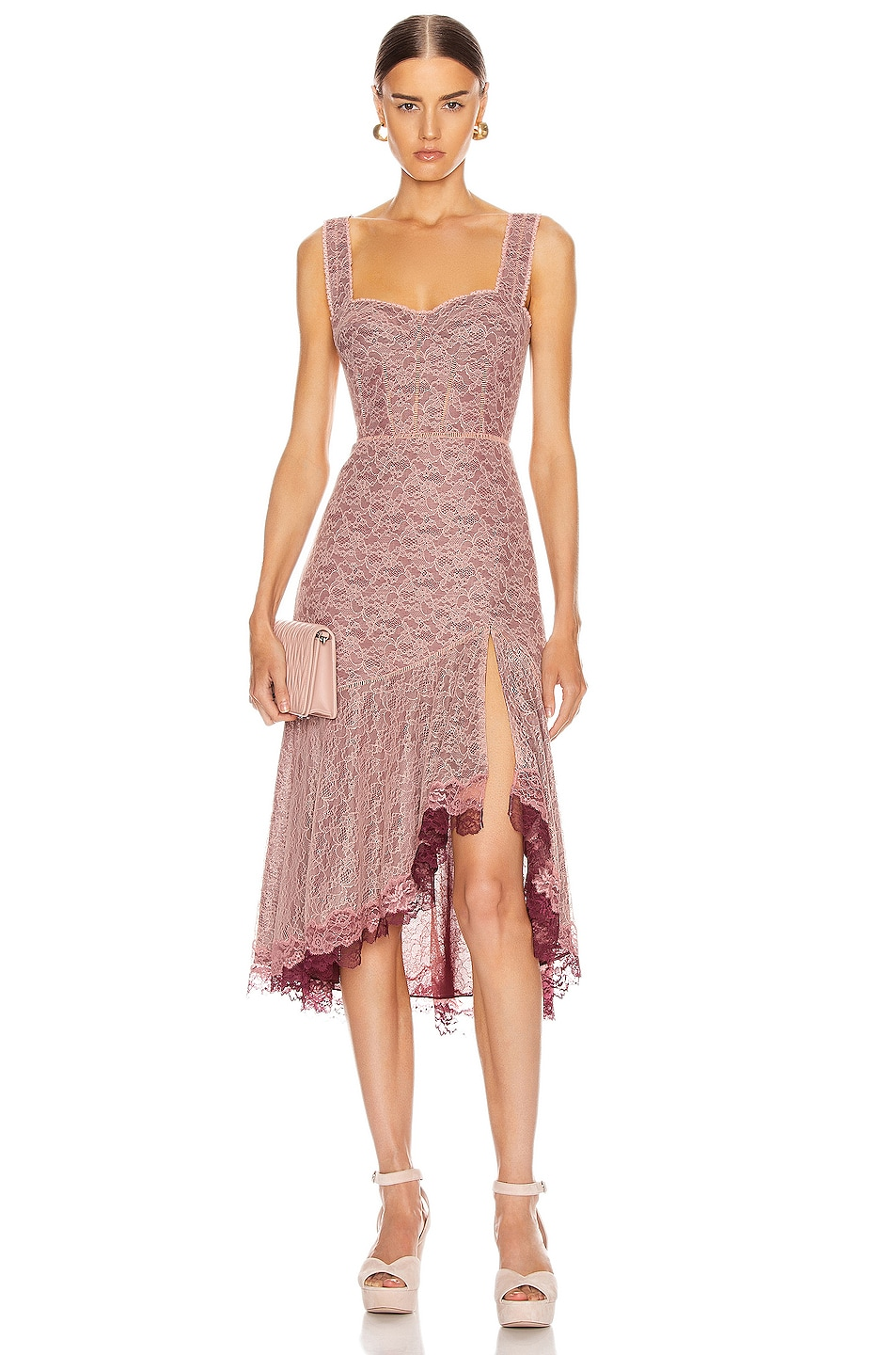 Image 1 of JONATHAN SIMKHAI Lace Open Slit Bustier Dress in Sienna & Antique Rose
