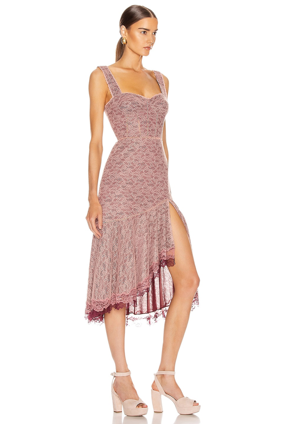 Image 2 of JONATHAN SIMKHAI Lace Open Slit Bustier Dress in Sienna & Antique Rose