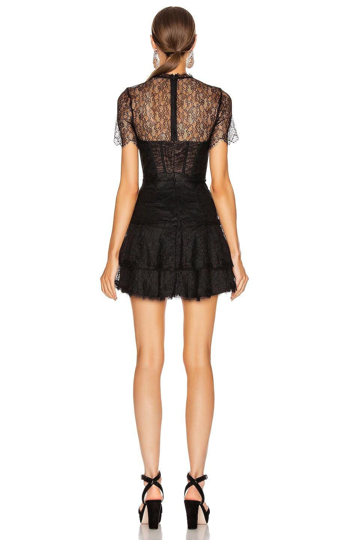 Image 3 of JONATHAN SIMKHAI Lace Bustier Mini Ruffle Dress in Black