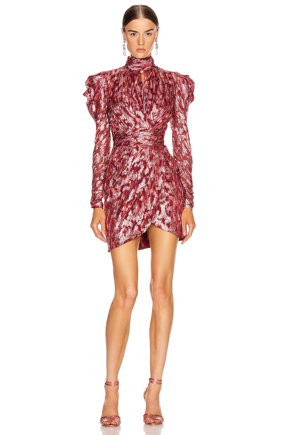 Image 1 of JONATHAN SIMKHAI Metallic Mockneck Wrap Dress in Sienna Combo