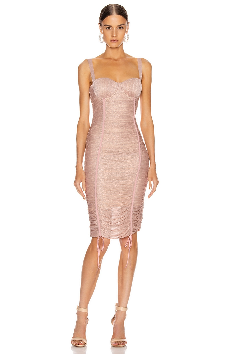 Image 1 of JONATHAN SIMKHAI Shimmer Balconette Dress in Antique Rose