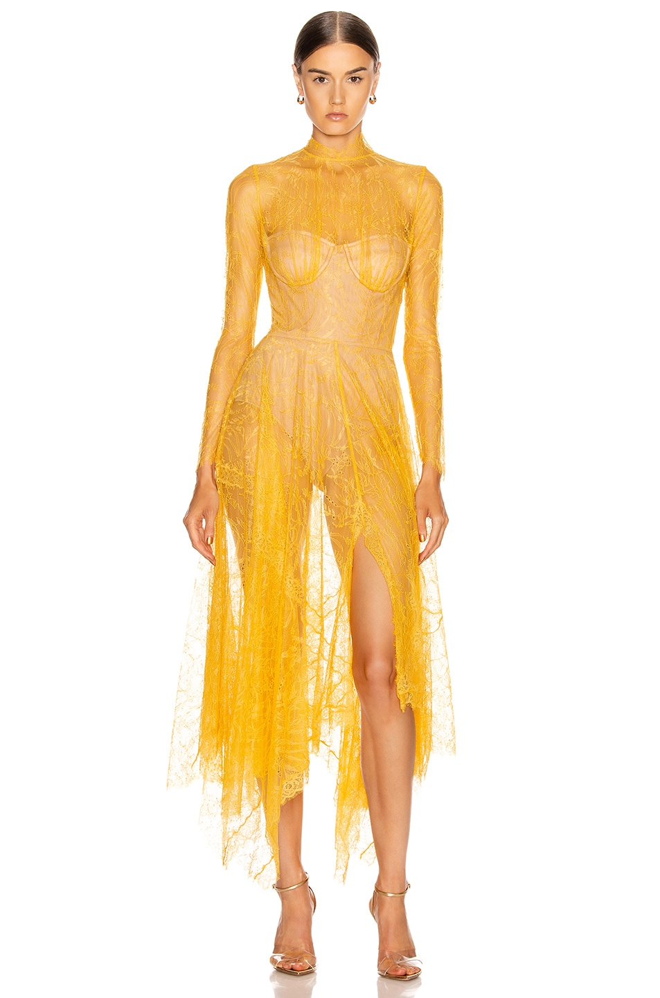Image 1 of JONATHAN SIMKHAI Lace Bustier Handkerchief Dress in Marigold