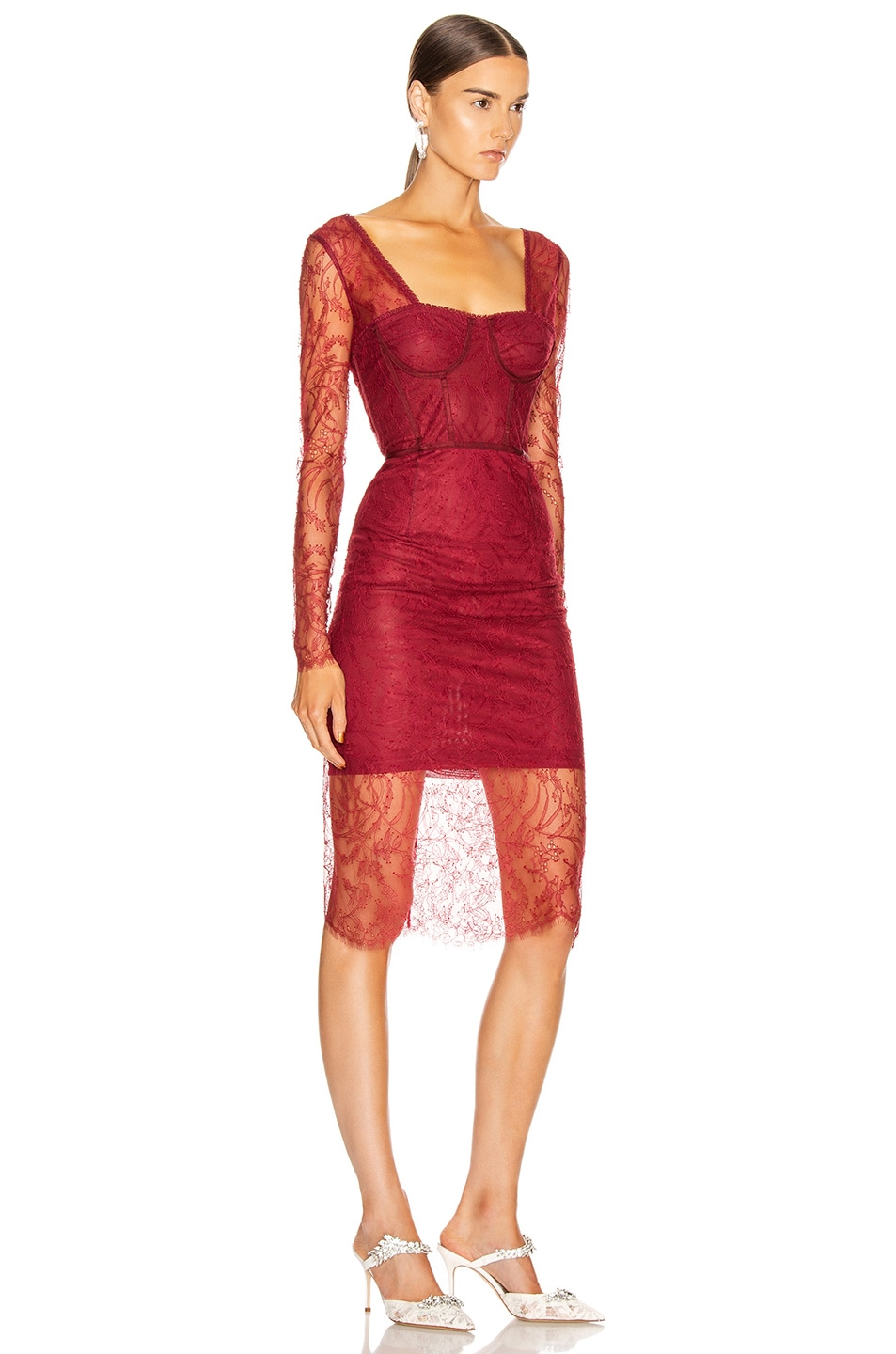 Image 2 of JONATHAN SIMKHAI Lace Bustier Bodysuit Dress in Oxblood