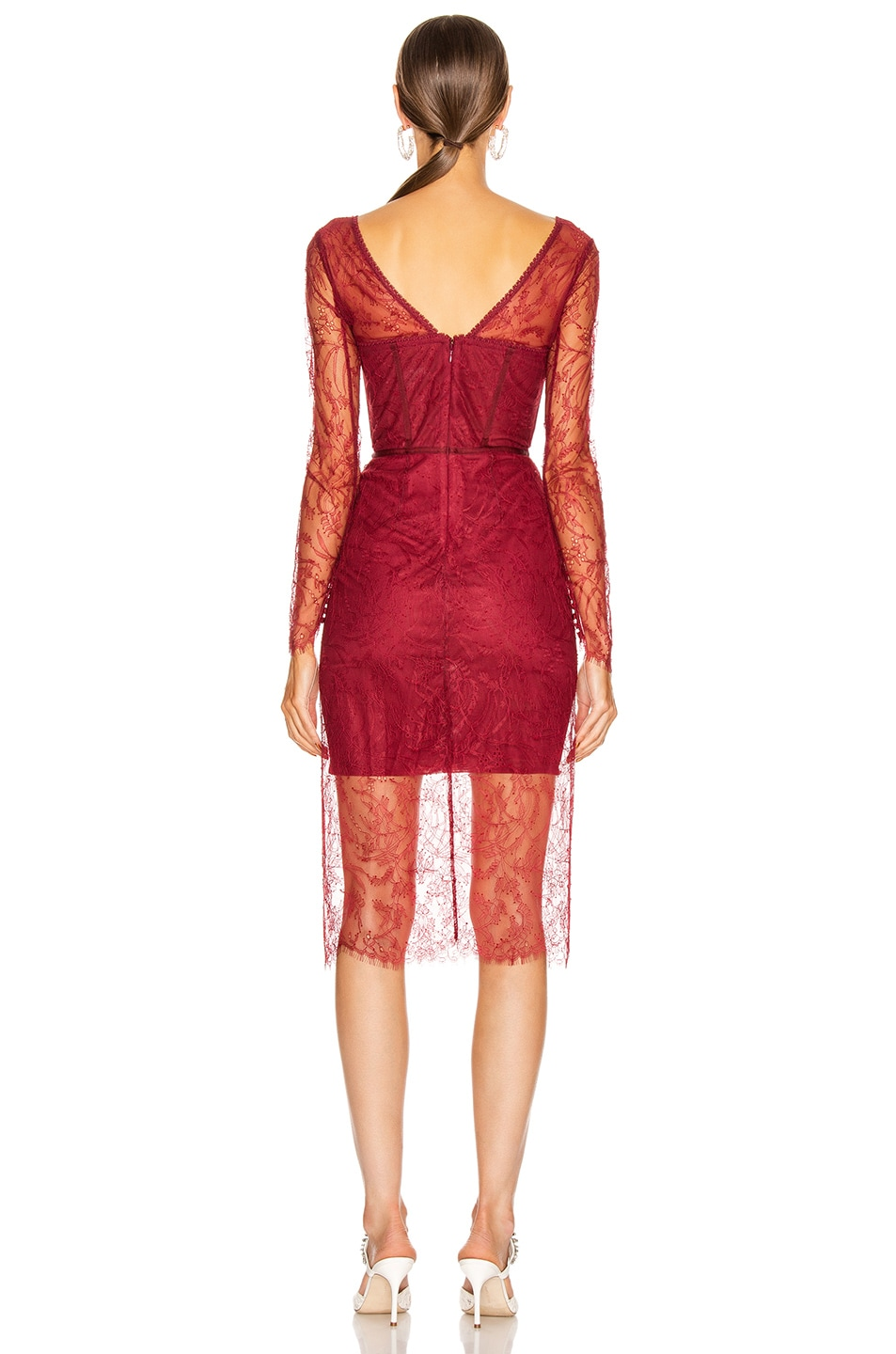 Image 3 of JONATHAN SIMKHAI Lace Bustier Bodysuit Dress in Oxblood