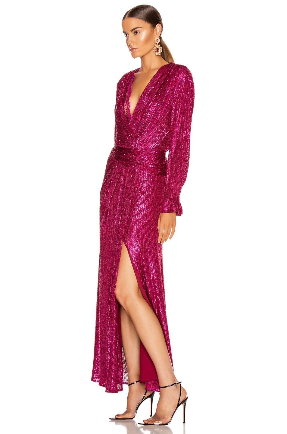 Image 3 of JONATHAN SIMKHAI Sequin Draped Front Gown in Magenta Combo
