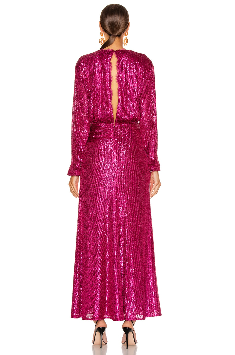 Image 4 of JONATHAN SIMKHAI Sequin Draped Front Gown in Magenta Combo