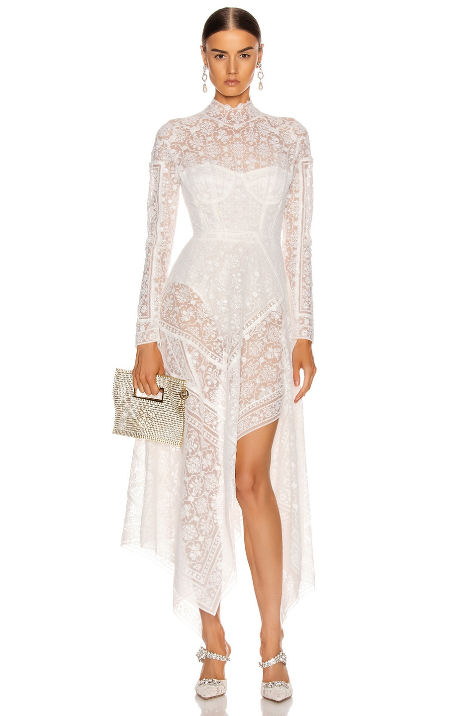 Image 1 of JONATHAN SIMKHAI Scarf Embroidered Hankerchief Bustier Dress in White