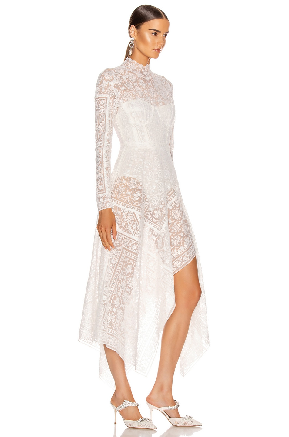 Image 2 of JONATHAN SIMKHAI Scarf Embroidered Hankerchief Bustier Dress in White