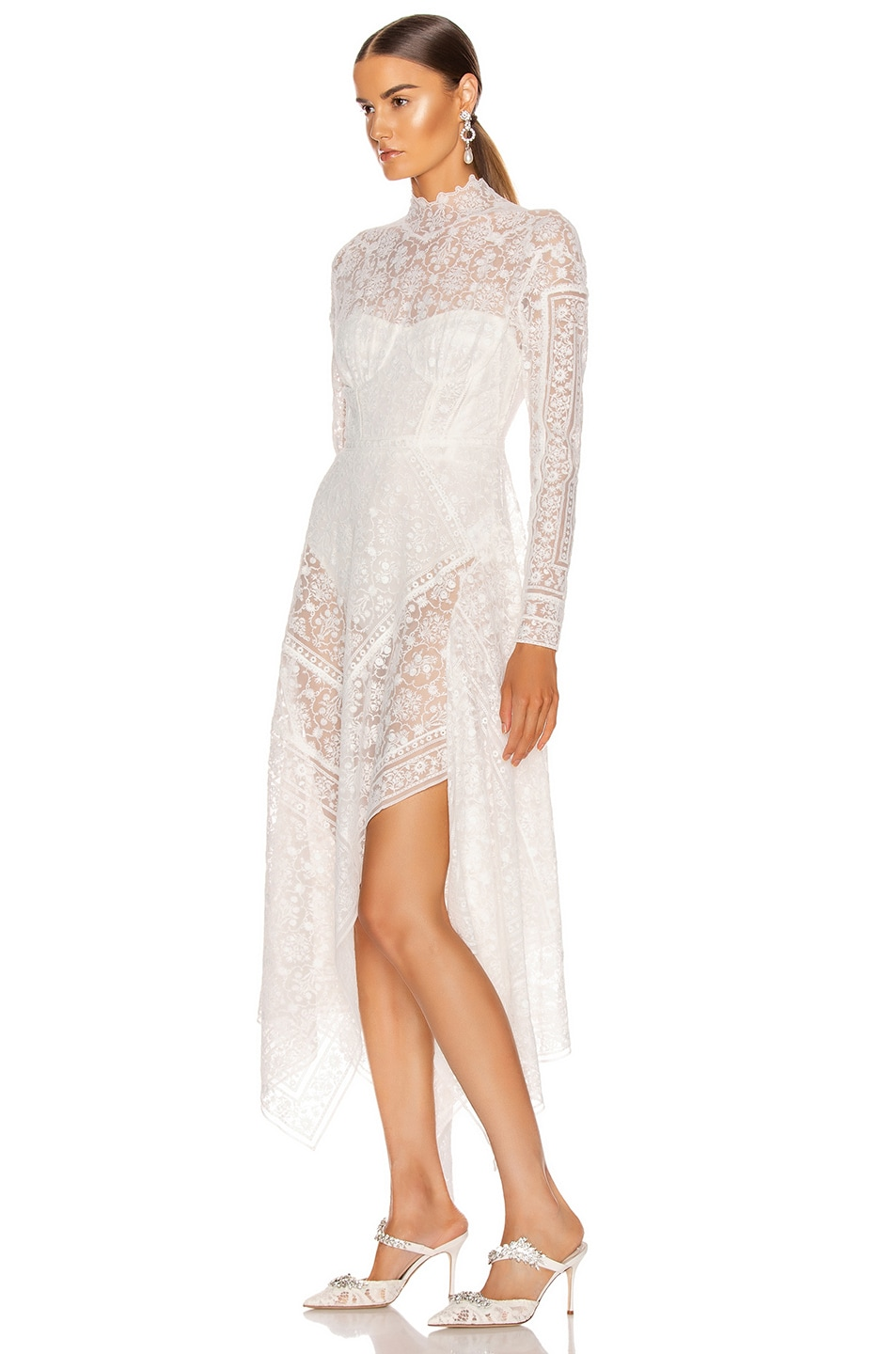 Image 3 of JONATHAN SIMKHAI Scarf Embroidered Hankerchief Bustier Dress in White